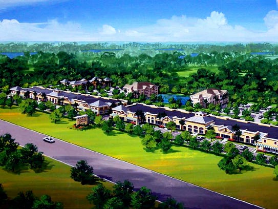 An early rendering of Vanderbilt Commons retail center,