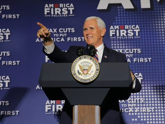 "Vice President Mike Pence speaks during a ""Tax Cuts to Put America First"" at the Indianapolis Downtown Marriott on May 18."