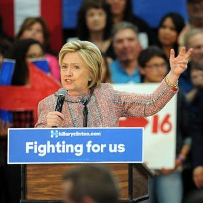 Hillary Clinton during campaign stop at Hartnell College