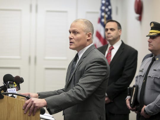 Marty Pane, U.S. Marshal for the Middle District of Pennsylvania holds a press conference about the disappearance of federal judge Edwin Kosik, 91, in the William J. Nealon Federal Building and U.S. Courthouse in Scranton, Pa., on Thursday, March 30, 2017. ( Jake Danna Stevens / The Times-Tribune, via AP)
