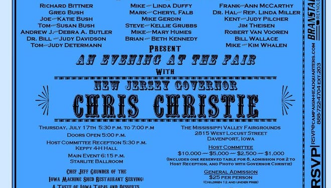 This is the ticket for the Branstad/Reynolds fundraiser featuring New Jersey Gov. Chris Christie in Davenport on July 17.