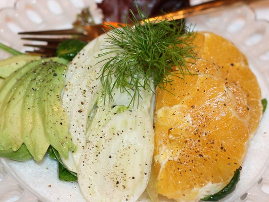 Composed Salad with Avocado, Fennel and Oranges.