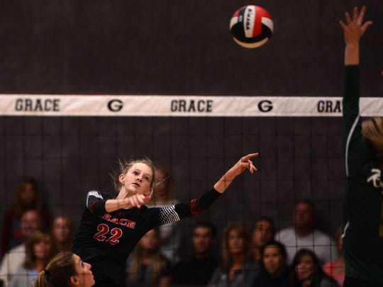 Grace Brethren's Cali McCoy powers the ball against La Reina on Tuesday night as the girls varsity volleyball teams face off in Simi Valley.  La Reina defeated Grace Brethren.
