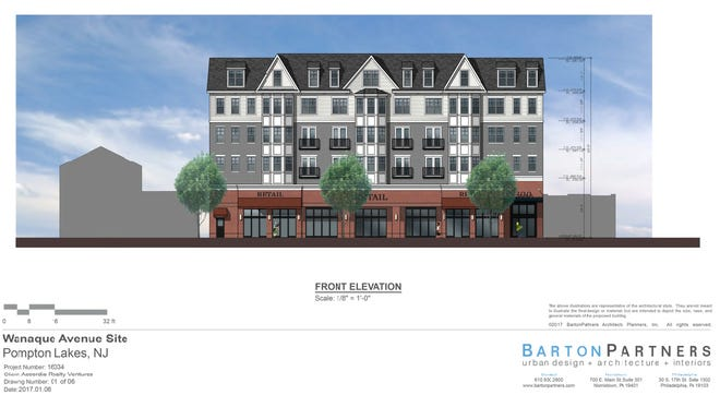An artist's rendering of plans for a new five-story downtown residential and retail building in Pompton Lakes.