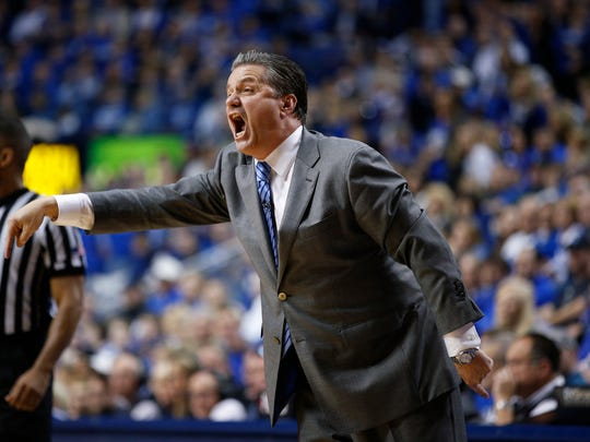 Head coach John Calipari of the Kentucky Wildcats reacts in the second half of the game against the Vanderbilt Commodores at Rupp Arena on January 20, 2015 in Lexington, Kentucky. Kentucky defeated Vanderbilt 65-57.