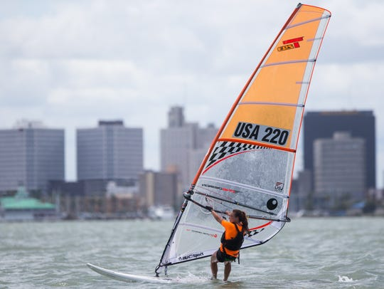 A windsurfer practices in Corpus Christi Bay during