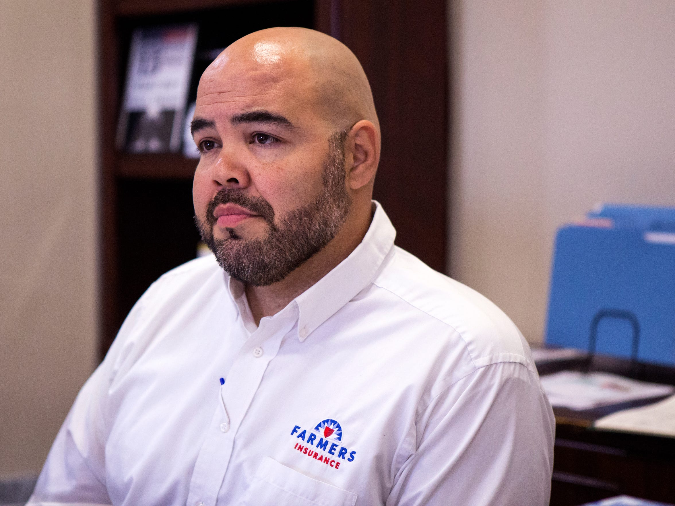 Alex Hinojosa, Farmer's Insurance Agent in Aransas Pass, talks about the changes in flood insurance coming to the area near the town's uncertified levee. He hopes that it won't just his voice saying flood insurance is needed.