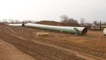 A portion of the E.T. Rover pipeline lies on the cleared ground of Timber Trace Golf Club in Putnam Township March 24.