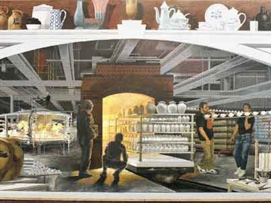A mural on the Strand-Capitol Performing Arts Center depicts workers at the Susquehanna Pfaltzgraff plant. Louis Appell sold the company to Lifetime Brands, and the pottery is no longer produced in York.
