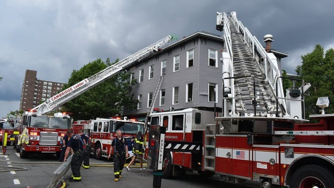 Approximately 45 firefighters worked a two-alarm fire Sunday, June 28, that started in a coffee shop and spread to the apartments above at 1093 Cambridge St.
