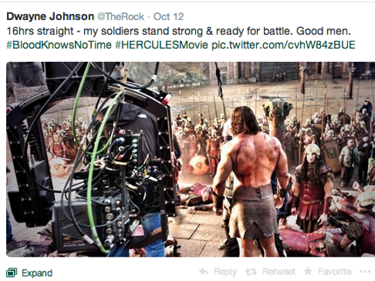 """The Rock Tweeting to the faithful on """"Hercules"""""""