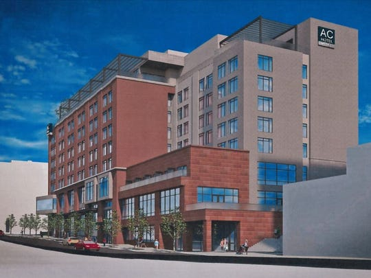 The proposed updated rendering of the AC Hotel planned for Camperdown at the corner of South Main and East Broad.
