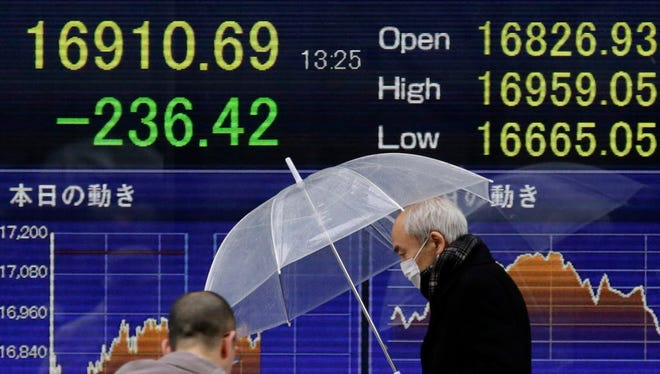 Pedestrians walk past a display showing Tokyo's Nikkei Stock Average during the afternoon session in Tokyo on Monday.