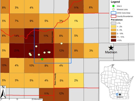 Locations of sampled mineral licks and prevalence of chronic wasting disease (CWD) in hunter-harvested white-tailed deer from 2010–2013 in south-central Wisconsin, USA. Squares are townships of 9.66 km per side. Inset shows state of Wisconsin, USA. Site 6 denotes the mineral lick with CWD-positive fecal samples.