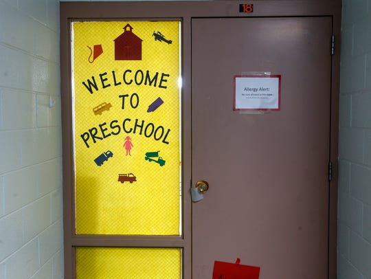 The front door to a preschool class is pictured on Friday at Lydia Rippey Elementary School in Aztec.