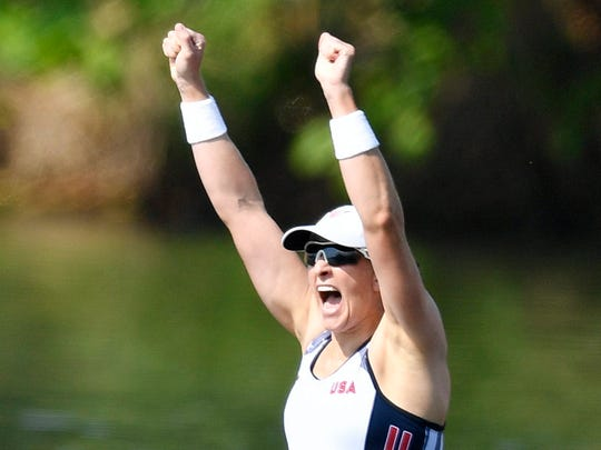 Ellen Tomek of the USA women's double sculls team at the Rio 2016 Olympic Games.