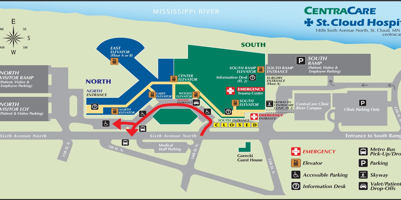 South entrance of hospital to close on st. cloud mn map, st. cloud state university map, saint cloud hospital map, cleveland hospital map, hennepin county medical center map,