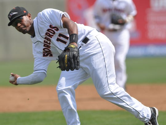 Delmarva's Mychal Givens prepares to throw to first