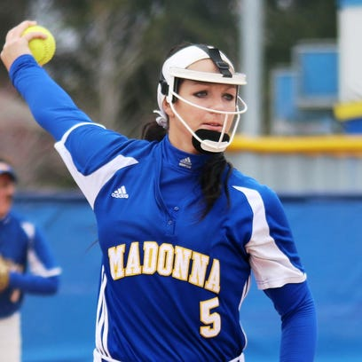Madonna University senior right-hander Bree Crampton threw a no-hitter to beat University of Michigan-Dearborn in the first game of a twinbill.