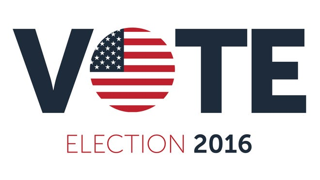 Patriotic 2016 voting poster. Presidential election 2016 in USA. Typographic banner with round flag of the United States