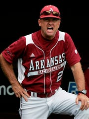 Arkansas head baseball coach Dave Van Horn shouts from the dugout in this file photo. Arkansas received the No. 5 seed in the NCAA Baseball Tournament for the second consecutive year.