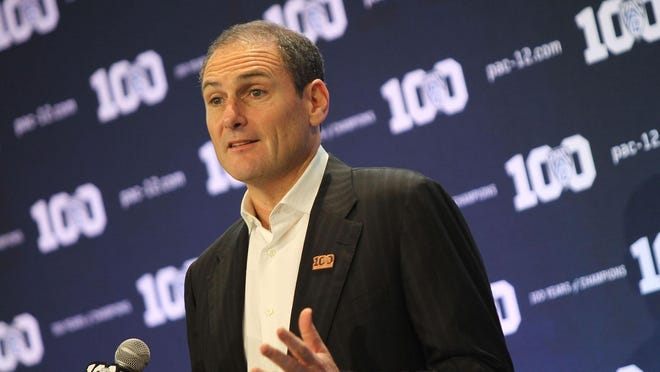 Pac-12 commissioner Larry Scott speaks at the 2015 football kickoff event in Burbank, Calif.