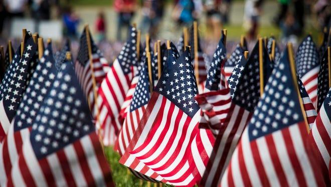 American Flags on Boston Common, Boston, Massachusetts on May 27, 2013.