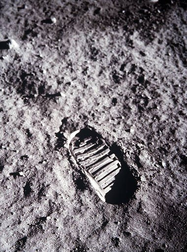 An image of astronaut Buzz Aldrin's bootprint in the