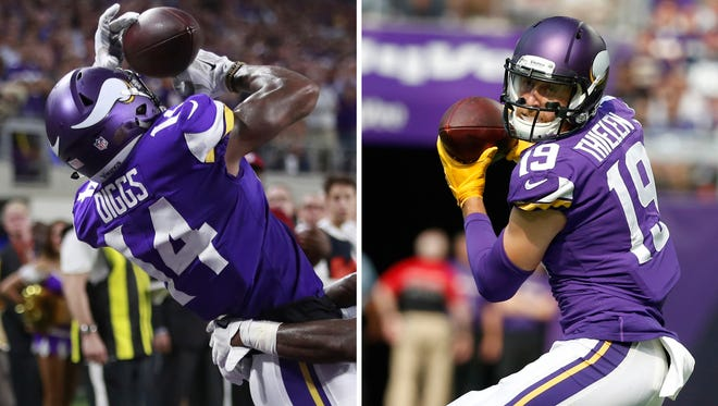 At left, in a Sept. 11, 2017, file photo, Minnesota Vikings wide receiver Stefon Diggs (14) catches a touchdown pass in front of a New Orleans Saints defender during an NFL football game, in Minneapolis. At right, in a Sept. 24,2017, file photo, Minnesota Vikings wide receiver Adam Thielen catches a pass during the first half of an NFL football game against the Tampa Bay Buccaneers, in Minneapolis. The Vikings have been hit by the injury bug again, at quarterback and running back. But they've still got a valuable asset in the ever-improving pass-catching tandem of Stefon Diggs and Adam Thielen. They're on track to give the Vikings a pair of 1,000-yard receivers, a milestone unmet since 2009.