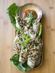 Curried Rice and Lentil Spring Rolls with Mango Chutney