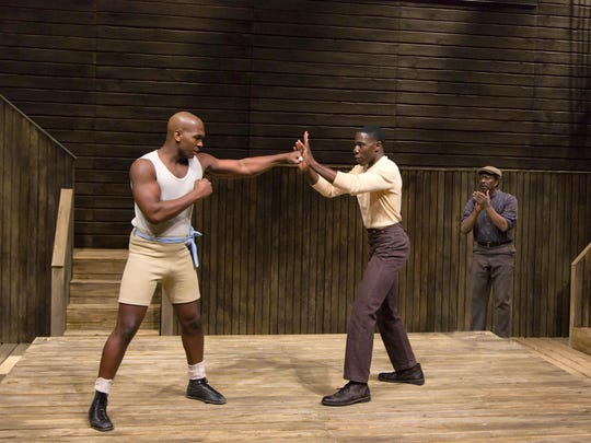 "Khris Davis (left to right), McKinley Belcher III and Clarke Peters in ""The Royale."""