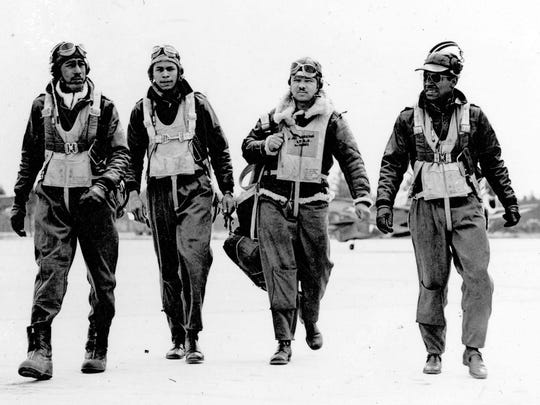 A historic photo of the Tuskegee Airmen.