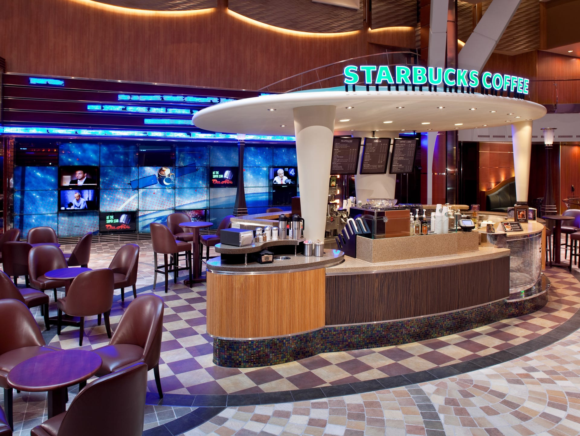The First Starbucks At Sea Debuted In 2010 On Royal Caribbean's Inspiration Explorer Of The Seas Dining Room Inspiration