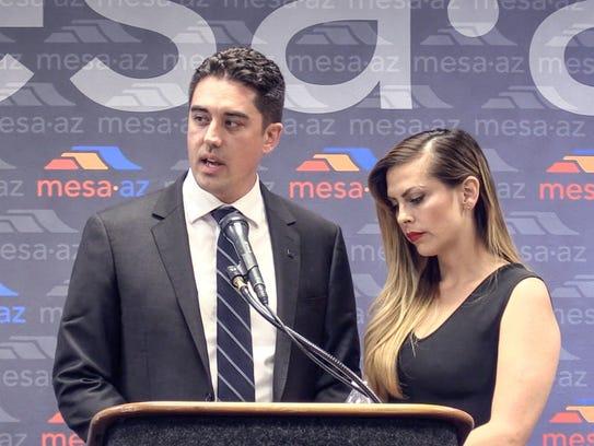 Mesa Councilman Ryan Winkle and  his wife, Ericka Varela.
