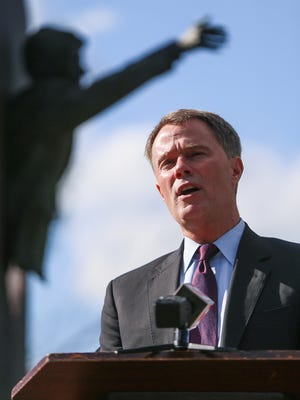 Mayor Joe Hogsett speaks during a remembrance ceremony for the 49th anniversary of Robert F. Kennedy's death, at the Landmark for Peace Memorial in Martin Luther King Memorial Park, Indianapolis, Tuesday, June 6, 2017.