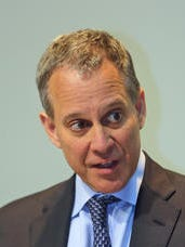 New York State Attorney General Eric Schneiderman speaking with reporters and members of The Journal News editorial board Aug. 20.