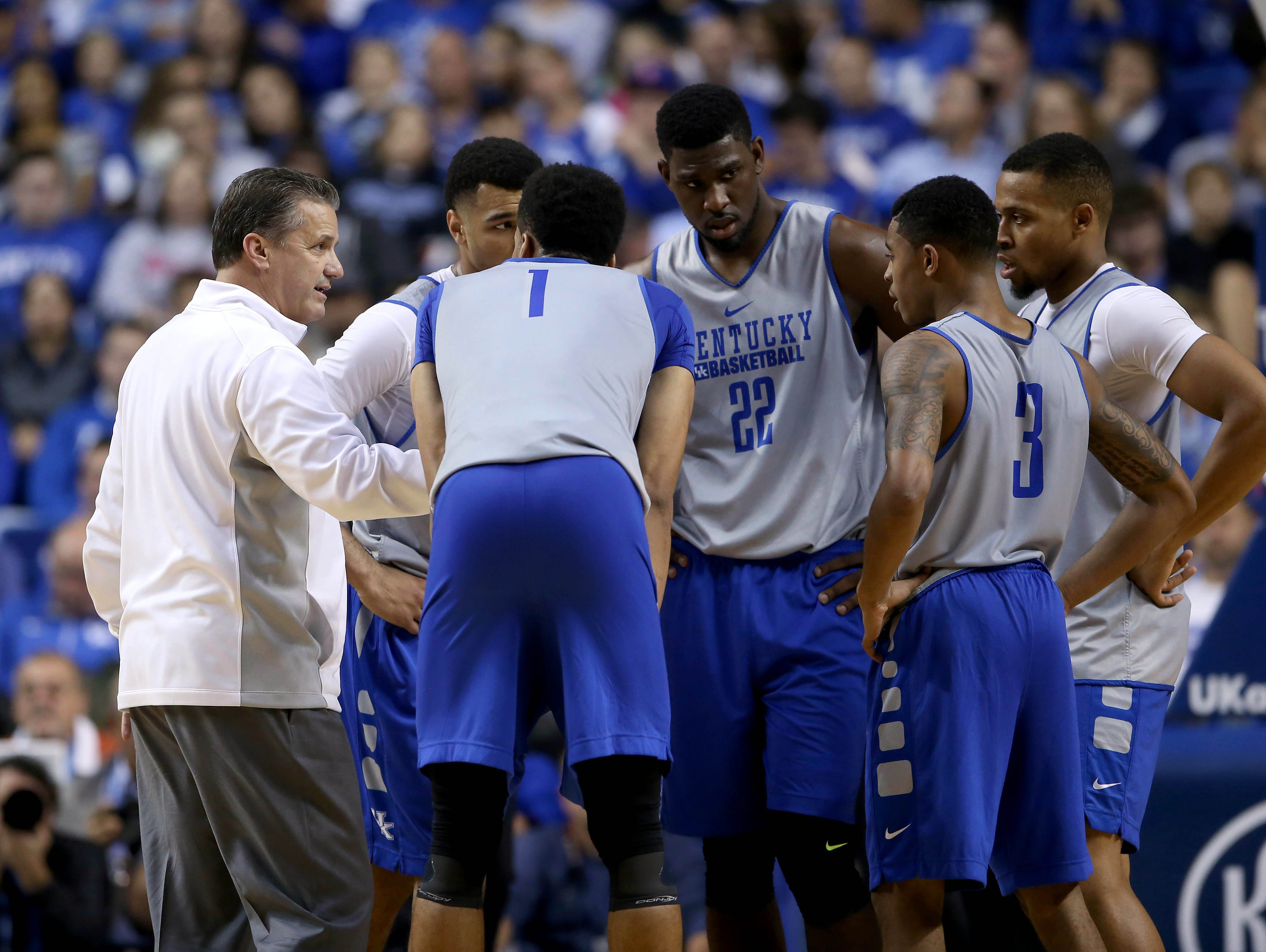 Oct 27, 2015; Lexington, Kentucky, USA; Kentucky Wildcats head coach John Calipari coaches his team in the second half of the Blue White scrimmage at Rupp Arena.