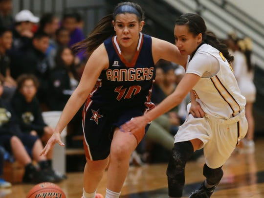 Riverside's Anika Galindo drives to the basket against Parkland's Kaylee Morgan during the fourth quarter at Parkland.