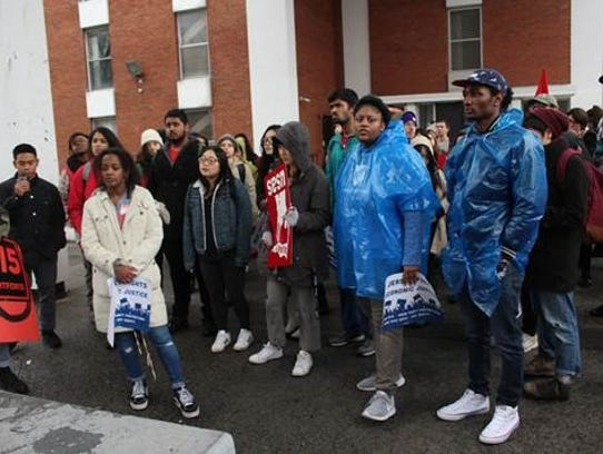Student groups and unions conducted a protest Friday