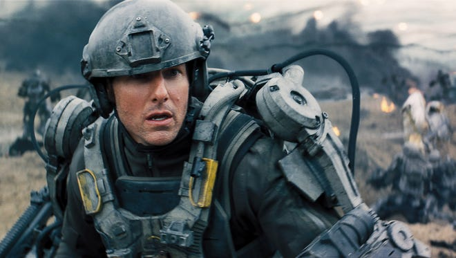 Tom Cruise plays a novice warrior repeatedly subject to battle despite dying multiple times in 'Edge of Tomorrow.'