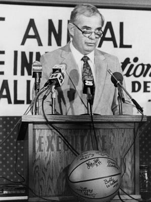 The late Jim Byers, seen during a news conference in 1983, will recognized on the equipment of all 14 University of Evansville athletic programs during the 2016-17 season.