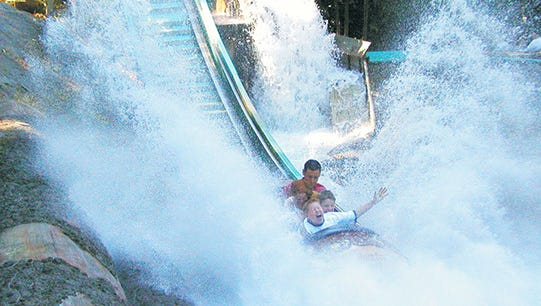 Experience a 40 foot drop with splashdown on the Big Timber Log Ride at Enchanted Forest.