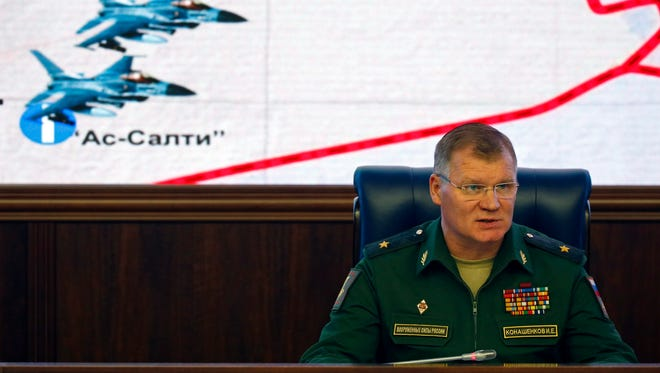 Russian Defence Ministry official representative general Igor Konashenkov makes an official statement for the media in Russian Defence Ministry in Moscow, Russia, 20 October 2016. Igor Konashenkov reported provided to the media detailed information, taken from Russian radars concerning the flight and airstrike of a pair of Belgian F-16 fighters. According to this information two Belgian combat jets F-16 took off 18 October from Jordanian airbase and after two-hours patrol flight receiving additional fuel from US flying tanker dropped bombs of Kurdish village Khassajek near Aleppo. Six residents of the village were killed during the airstrike.