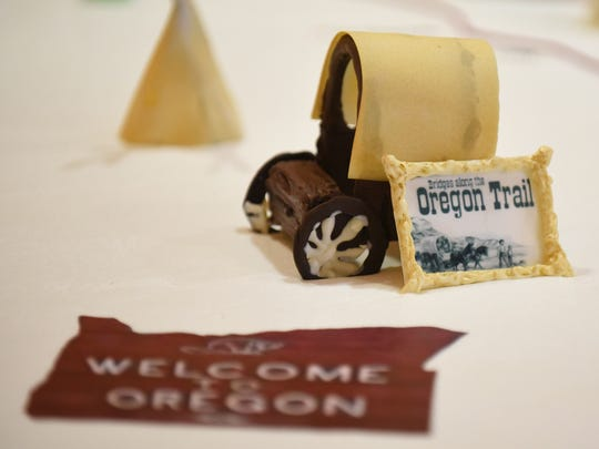 Oregon's 156th birthday celebration on Saturday, Feb. 14, 2015, included this detailed cake with iconic and historical Oregon events and landmarks, live music by Oregon Oldtime Fiddlers' Association, costumed historical interpreters and more.