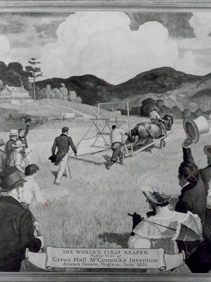 Illustration of first reaper demonstration. Anderson is seen walking beside it.