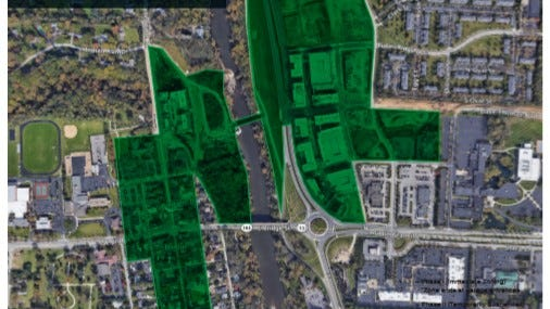 Dublin City Council members have requested more research about a proposal to create a Designated Outdoor Refreshment Area. The DORA would be 14.2 acres shown in green in this graphic.
