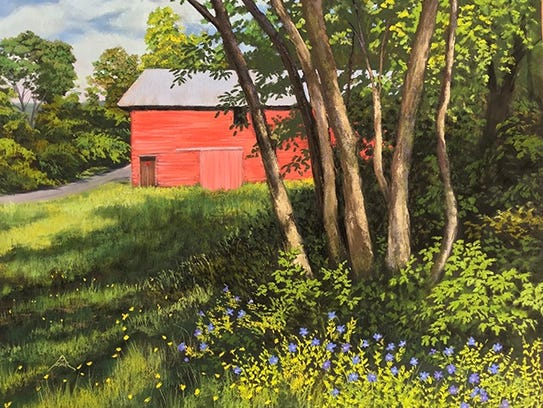 """""""Red Barn Blue Flowers,"""" pastel by Andrea McFarland."""