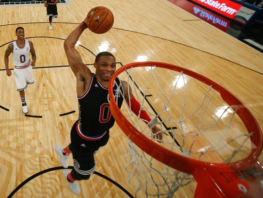 Russell Westbrook goes up for a dunk during the 2015