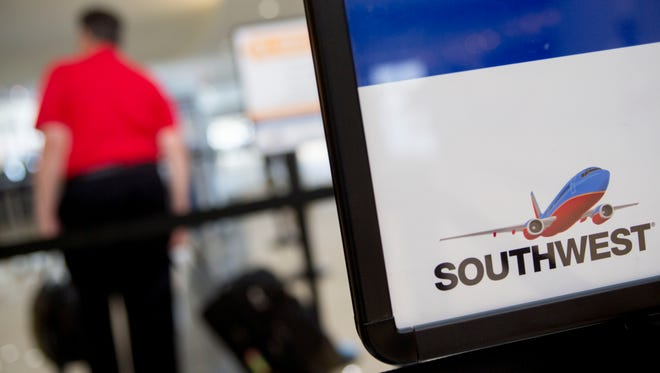 A Southwest Airlines check-in counter.