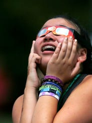 Madison Durchslag joined other watching the solar eclipse